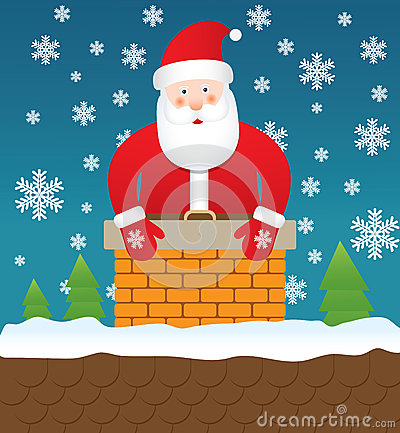 Santa Claus stuck in chimney,  illustration