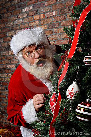 Santa Claus Surprised by the Christmas Tree