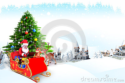 Santa claus talking with reindeer