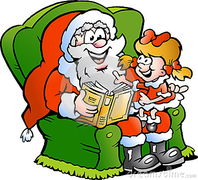Santa Claus tells a story to an little girl