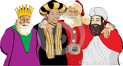 Santa claus with three wise men