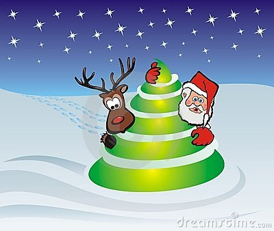 Santa claus, tree and rudolph