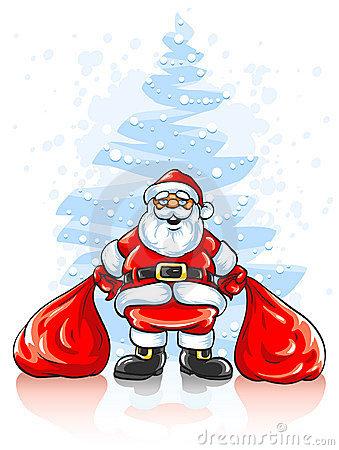 Santa Claus with two sacks of Christmas gifts