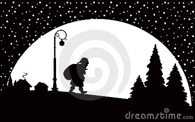 Santa Claus walking at night
