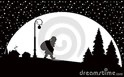 Santa Claus walking at night