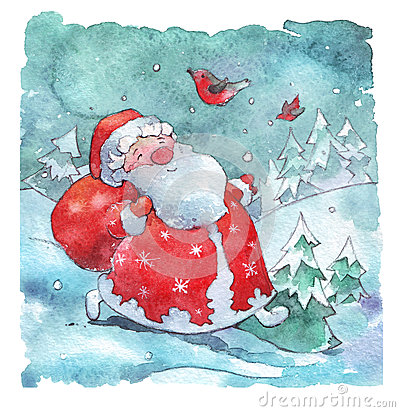Free Santa Claus Walking With Bag Of Presents Royalty Free Stock Photography - 81384587