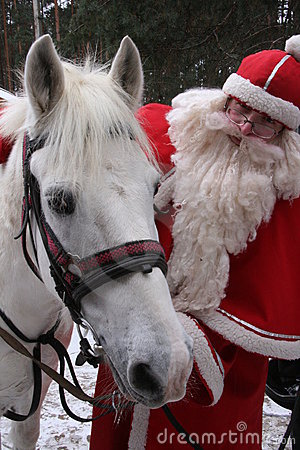 Santa Claus with white horse