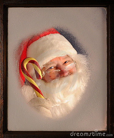 Santa Claus in Window with Candy Cane