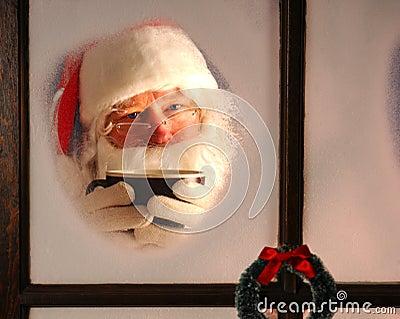Santa Claus in Window with Mug