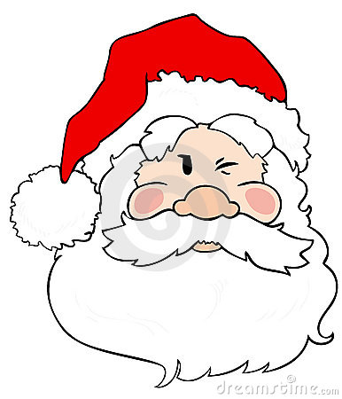 Santa Claus winking.