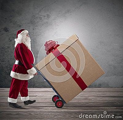 Free Santa Claus With Big Christmas Present Royalty Free Stock Photo - 34650465
