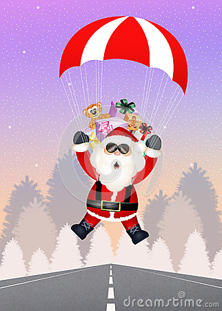 Free Santa Claus With Parachute Stock Photography - 46712712