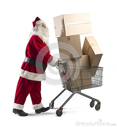 Free Santa Claus With Shopping Cart Royalty Free Stock Photography - 34207797