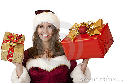 Santa Claus woman holding Christmas gifts