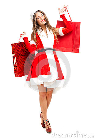 Original Woman Wearing Furry Hat Holding Shopping Bagsquot Stock Photo And