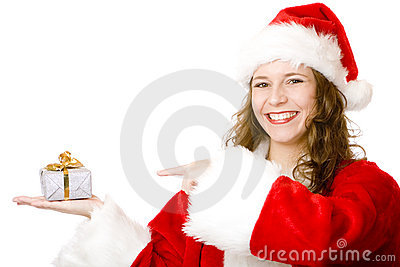 Santa Claus woman pointing on Christmas gift box