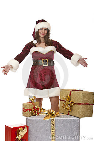 Santa Claus woman presents Christmas gift boxes