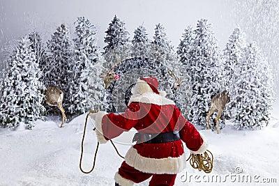 Santa Claus wrangling reindeer