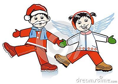 Santa Claus and Xmas angel