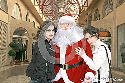 Santa Clause and girls