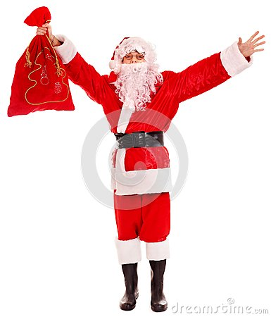 Santa Clause holding gift.