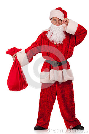Santa Clause looking at small sack