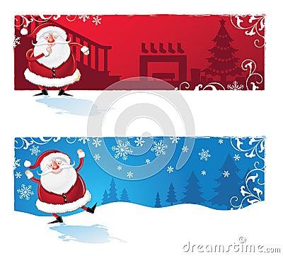 Santa Clause cartoon Banners
