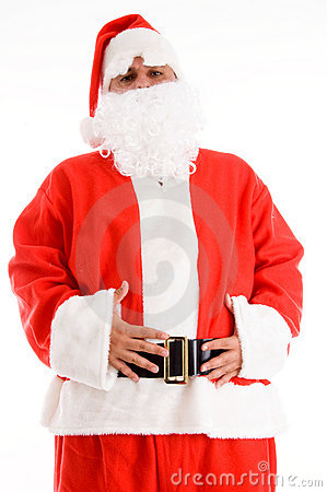 Santa clause posing with his hands on waist
