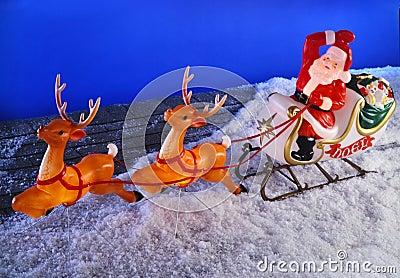 Santa And Reindeer Roof Displays
