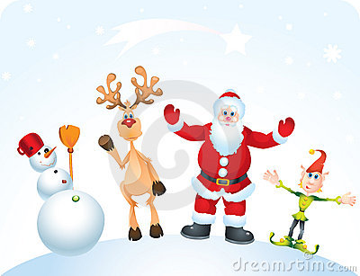 Santa Clause, Rudolph, Elf and Snowman