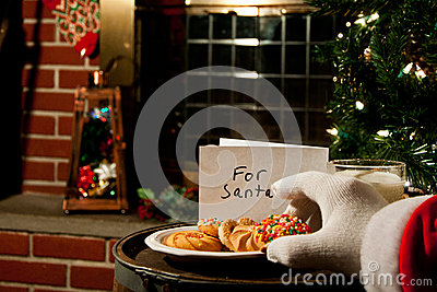 Santa Claus taking a cookie