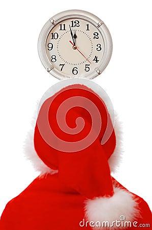 Santa and clock