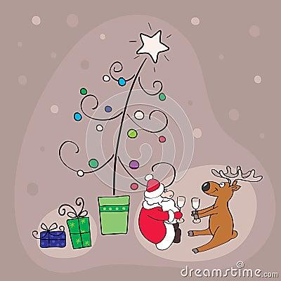 Santa con los ciervos celebra la Navidad