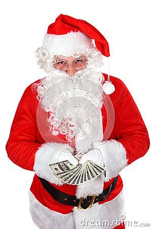 Santa con los dólares