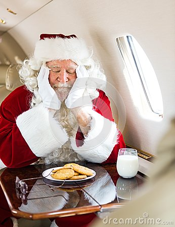 Santa With Cookies And Milk Sleeping In Private