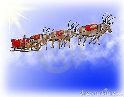 Santa corrects sledge  six reindeers