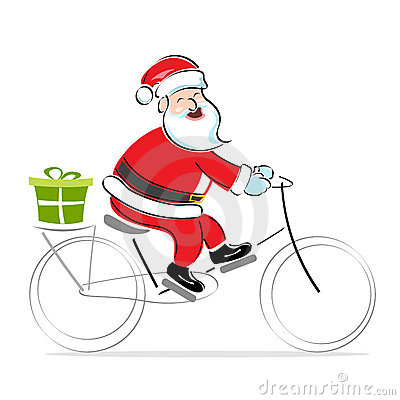 Santa on cycle wishing merry christmas