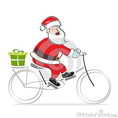 Santa on cycle wishing merry christmas