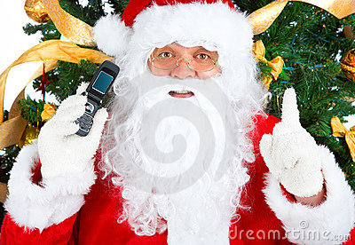 Santa de sourire, cellulaire