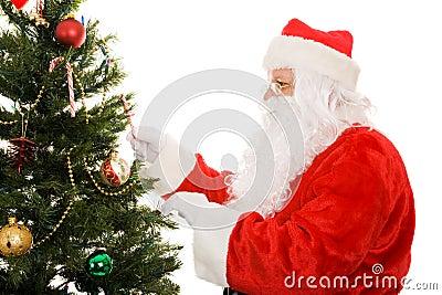 Santa Decorating Christmas Tree