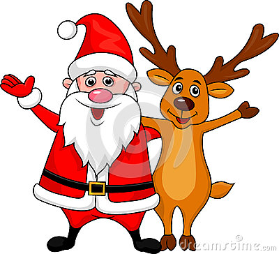 Santa and deer waving