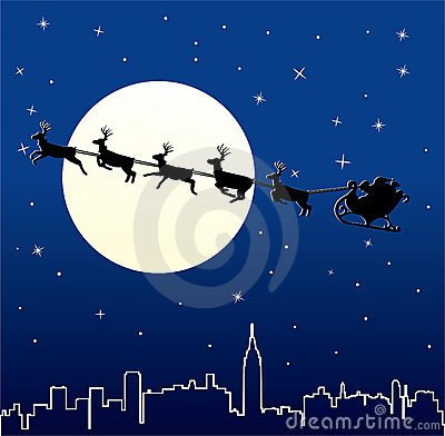 Santa and deers