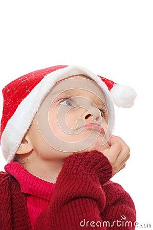 Santa dreamy child girl