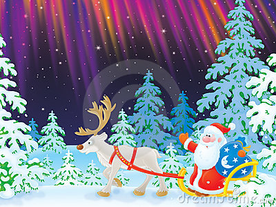 Santa drives in a sledge with reindeer