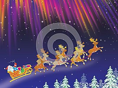 Santa drives sledge with reindeers