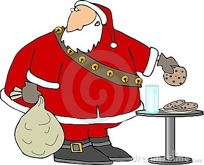 Santa eating cookies and milk