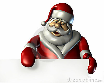 Santa With the Edge of a Blank Sign - with clipping path