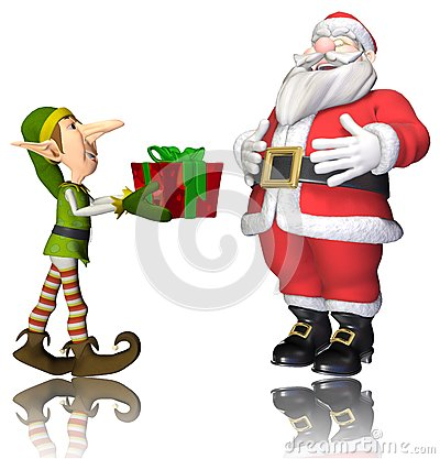 Santa And Elf Cartoon Passing The Present Royalty Free Stock Image ...