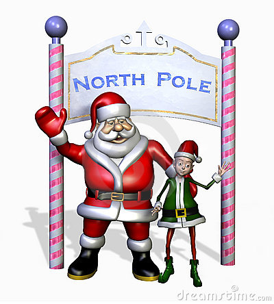 Santa & Elf at the North Pole - with clipping path