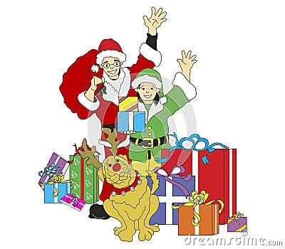 Santa, Elf, & Reindog